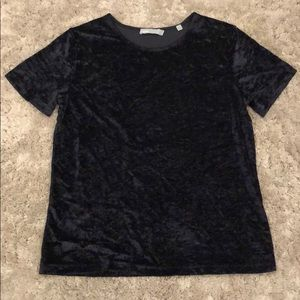 Vince. Black Crushed Velvet Top